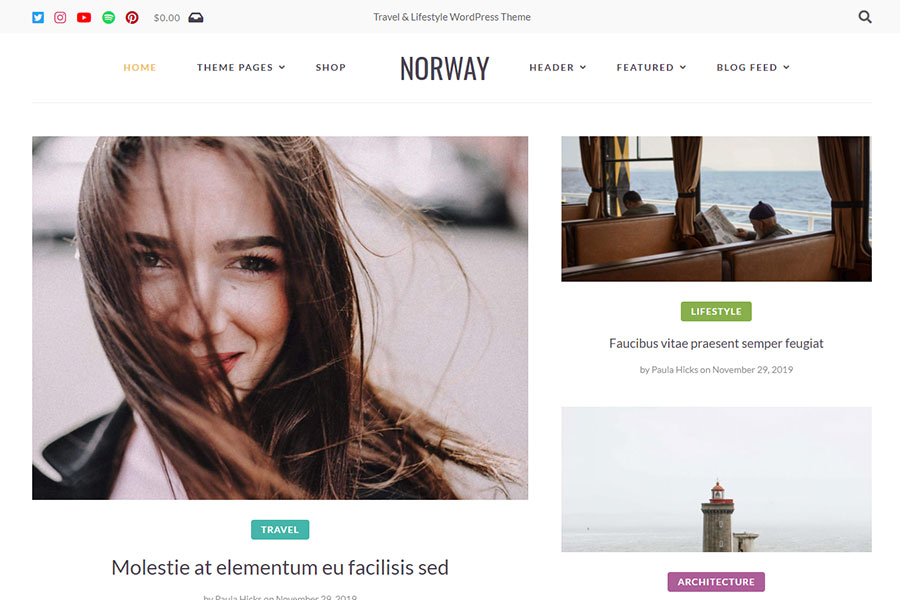 Norway - Travel Blog WordPress Theme