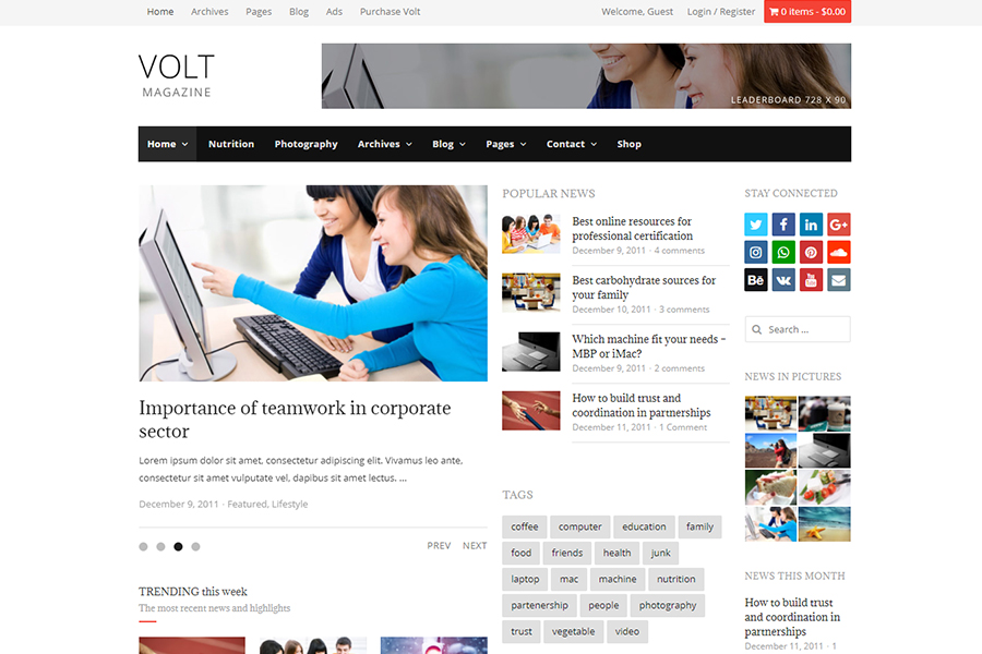 Volt - Newspaper Magazine theme WordPress